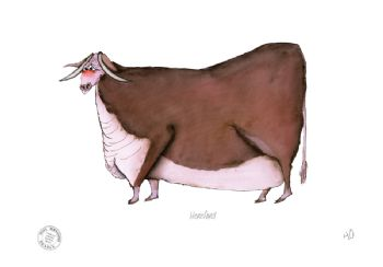 Funny Cow Cartoon Print - Hereford